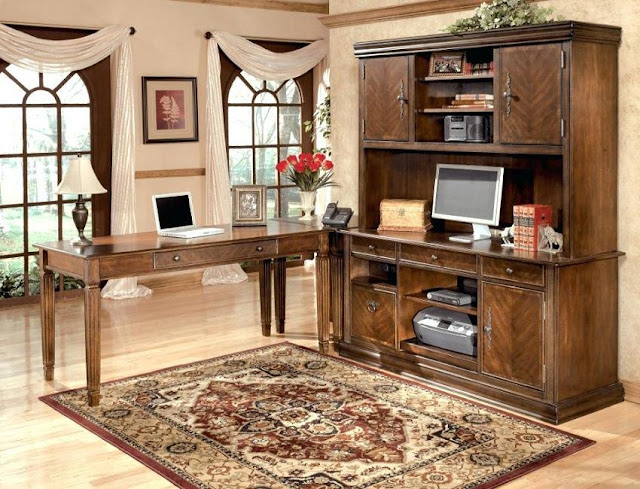 best buy l shaped rustic modular office furniture with hutch for sale