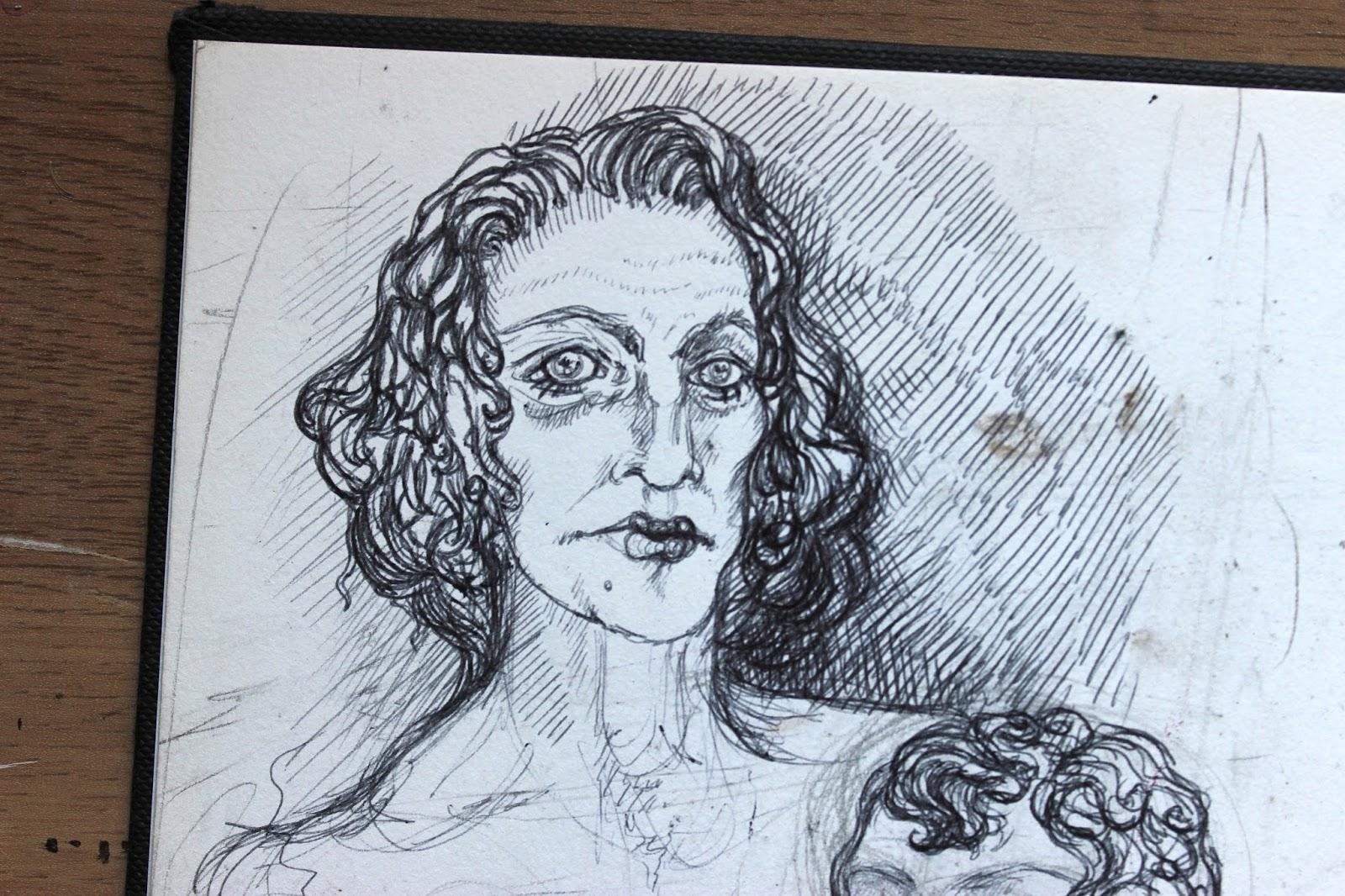Sketchpad Notebook Sketch Drawing Pencil Portrait Pen Woman