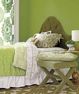 Dormitorio verde limón