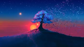 Tree, Sunset, Scenery, Night, Stars, Digital Art, 4K, #64