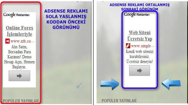 Blog Adsense Reklamını Ortala