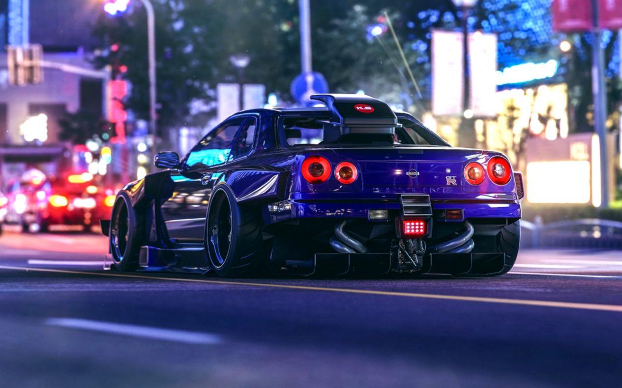 Nissan Skyline R34 Street Night Lights Hd Wallpaper Image