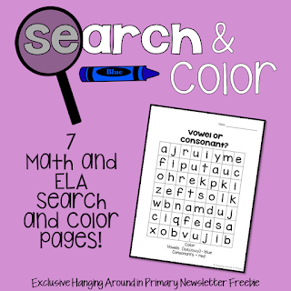 Search and Color Worksheets for Math and ELA