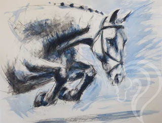 Flying Solo, equestrian art, mixed media, painting of horse jumping