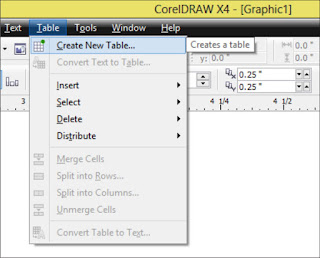 Mengenal Menu Table Pada Corel DrawX4