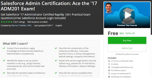 [100% Off] Salesforce Admin Certification: Ace the '17 ADM201 Exam!| Worth 50$