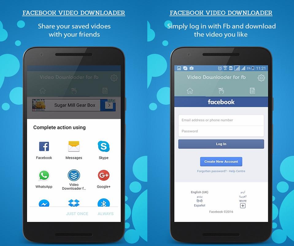 Facebook video downloader: Video Downloader for Android