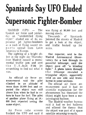 Spaniards Say UFO Eluded Supersonic Fighter-Bomber - The Tampa Tribune (Tampa, Florida) 9-7-1968
