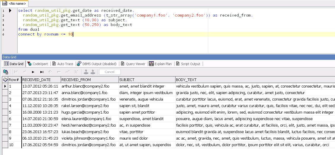 ORA-00001: Unique constraint violated: Generating test data using PL/SQL