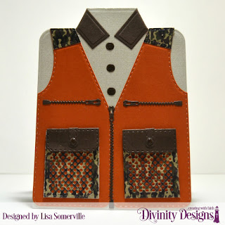 Divinity Designs Custom Dies: Couture Collection, Fishing & Hunting Vest, Paper Collection: Menswear Material