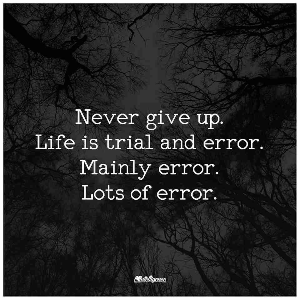 Never Give Up On Life Quotes Never Give Up Life Is Trial And Errormainly Errorlots Of Error.