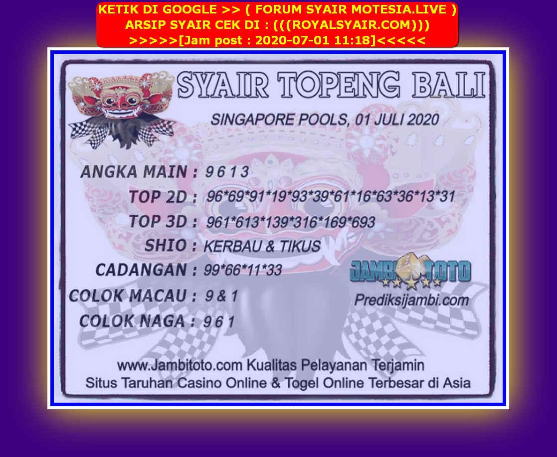 Kode syair Singapore Rabu 1 Juli 2020 139