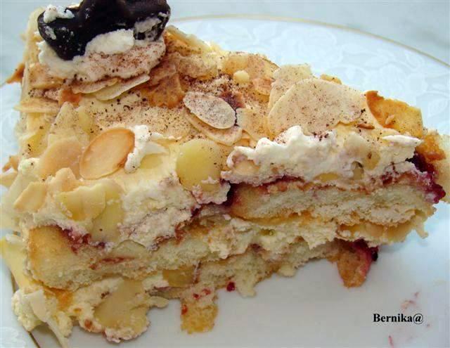 malakoff, tort, deser, ciasto, biszkopt, bernika, kulinarny pamietnik, migdały