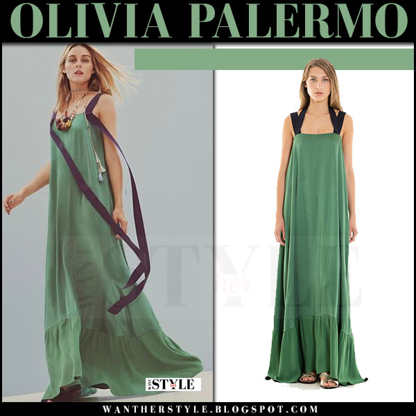 Olivia Palermo in green maxi dress Max&Co ad campaign what she wore 2017