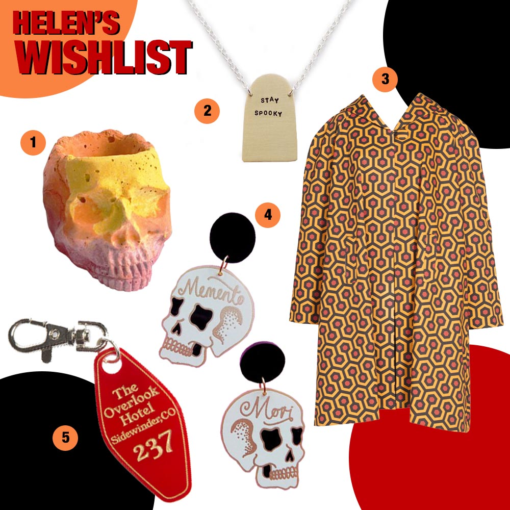 Spooky and stylish Halloween wishlist featuring a concrete skull planter by Studio Emma, Stay Spooky silver necklace by Oh Someday x I Like Cats, Th Shinin print coat from Pinup Girl Clothing, Momento Mori skull earrings by Misfit Makes and Overlook Hotel bag charm by Sugar & Vice