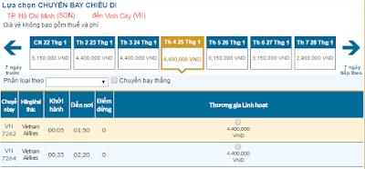 Giá vé máy bay tết 2017 TPHCM đi Vinh của hãng Vietnam Airlines