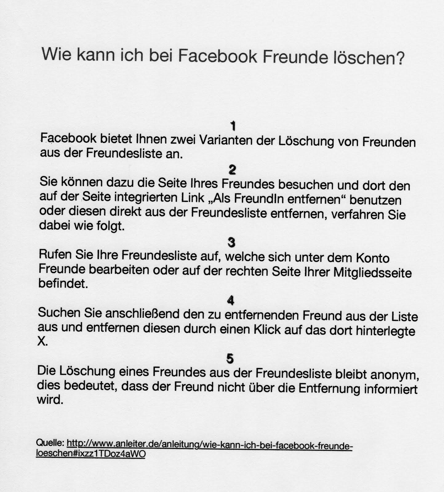 freund löschen facebook