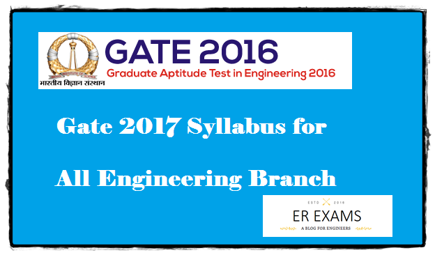 Gate 2017 Syllabus All Engineering Branch
