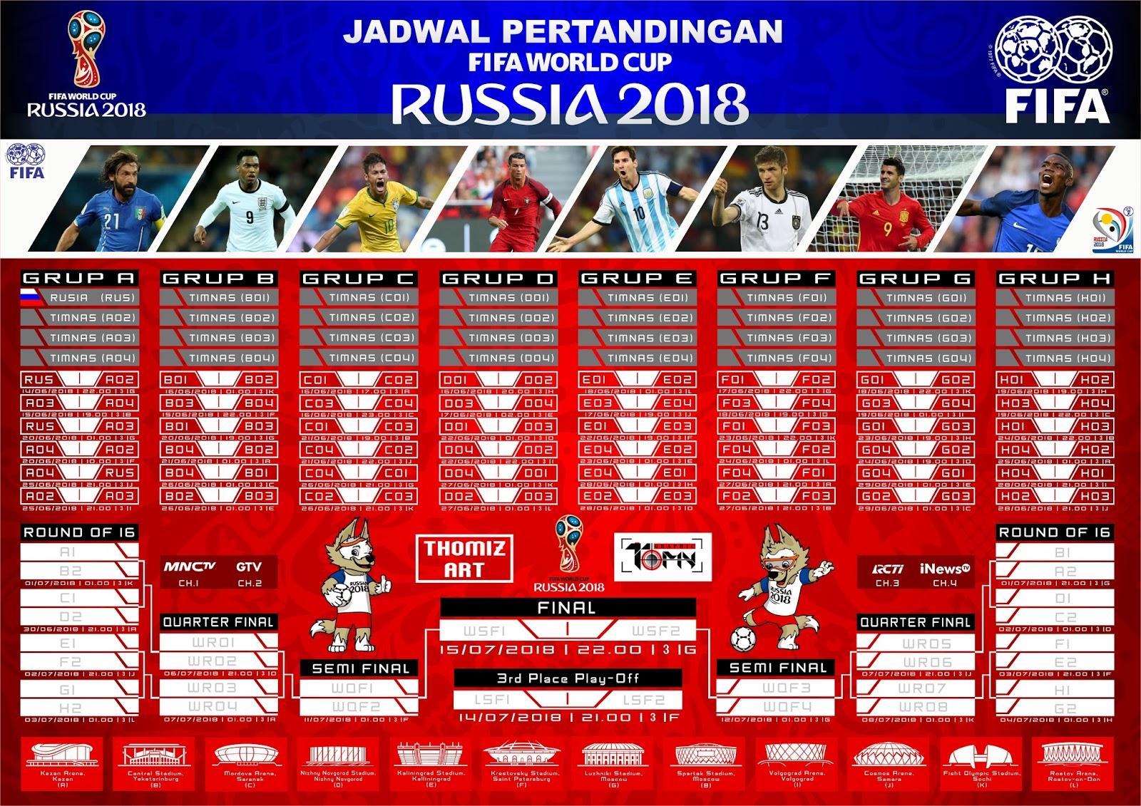 Lengkap, ini Jadwal Piala Dunia 2018 dari Fase Group ...