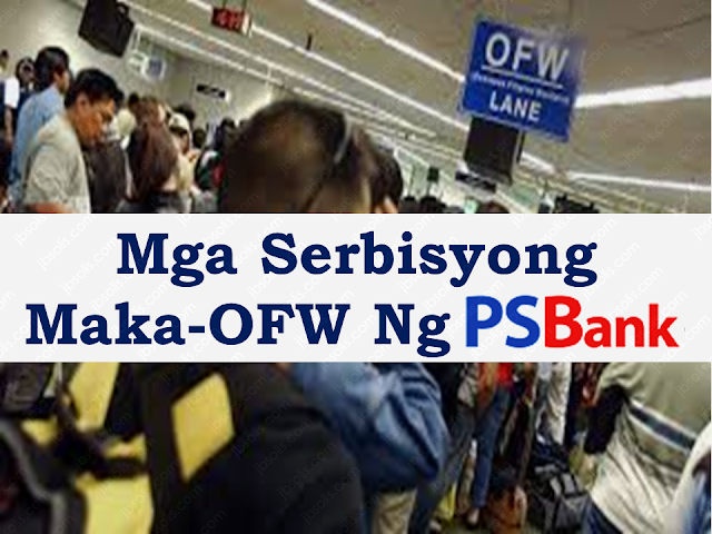 "Every OFW has to think about saving for their future. To do it, they need a bank they can trust. They need a place where they can assure the security of their savings and could earn interests.     What can OFWs and their familie benefit from PSBank Overseas Filipino Savings Account :   •No initial and minimum maintaining balance;   •Get your personalized ATM card on the spot when you open an account;   •Experience hassle-free bills payments and cash withdrawals;   •Swipe your ATM card in BancNet and MasterCard affiliated establishments;   •Conveniently monitor your account through PSBank Online by simply enrolling your account via www.psbank.com.ph; and   •Remit from abroad via Metrobank, iRemit and partner remittance companies.           Product Features Minimum Maintaining Balance—PhP0.00  Daily Balance to Earn Interest —PhP5,000    Interest Crediting  Monthly Checks deposited to accounts with ATM card, before clearing cut-off, will be available after 10:00 am on the following  •On-us check: 2nd working day  •Local / In-house check: 3rd working day  •Regional check: 7th working day  Benefits •Day and night banking in any PSBank, Metrobank, BancNet and ExpressNet ATMs nationwide, and Maestro and Cirrus ATMs worldwide  •Cashless shopping at any BancNet-affiliated establishment  •Hassle-free and on-the-spot issuance of ATM card  •Enroll in PSBank Online and PSBank Mobile, the Bank's secure and convenient electronic banking facilities, to be able to check your account balances and perform other banking transactions anytime, anywhere.  Fees and Charges Click here for your reference and guide to PSBank Overseas Filipino Savings fees and charges.  Requirements •Completely filled-out bank forms:  •Application and Agreement for Deposit Account (AADA) Form  •Customer Information and Specimen Signature Cards (CISSC)  •For OFWs: New clients will be asked to declare the employer and country of employment.  •For OFW Beneficiaries: Indicate the name, relationship, contact details, country where OFW remitter works and employer under ""Endorsed/Referred by"" portion of the CISSC form.  •Presentation of at least two valid IDs bearing your photo and signature    Sponsored Links    Need to send money to the Philippines?   PSBank offers a range of remittance services for OFWs designed to suit your needs. Over the years, we have been helping Filipinos working abroad with their fund transfer requirements through the PSBank Remittance Service thus making our products and services available to Filipinos around the world. With our remittance service, sending money to your loved ones in the Philippines has never been this easy. We are partners with some of the largest and most trusted banks in the world, including JP Morgan Chase, Wells Fargo, Bank of New York and Metrobank New York. Our ever-growing network of partners makes sending money to and from the Philippines always easy and convenient. We have partners across Asia, Europe, the Middle East, and the Americas. Our OFWs can expect remittance services with low service charges, convenient payment outlets and pick-up points, and secure transfers. Bank with us now and have your hard earned money wired quickly and safely. At PSBank, we make sure your money gets to where it needs to be.   Product Features Sending funds is easy through any of our listed correspondent banks using our SWIFT code: PHSBPHMM.  1. Visit any of our Correspondent Banks abroad:   JPMORGAN CHASE BANK270 Park Avenue, New York, NY 10017  PSBank Branch:WELLS FARGO BANK (formerly Wachovia Bank) 11 Penn Plaza, 4th Floor New York, NY 10001  PSBank Branch:BANK OF NEW YORK48 Wall St., New York , NY   PSBank Branch:METROBANK NEW YORK10 East 53rd Street New York, NY 10022  PSBank Branch:METROBANK AYALA CENTERGround Floor GT Tower Ayala Avenue corner H.V. dela Costa Street, Makati City  2. Apply for a telegraphic transfer using our SWIFT code for credit to a PSBank account. 3. Accomplish the form and provide necessary details of remittance: a. Beneficiary Name b. Beneficiary Bank and Branch c. Beneficiary Account Number   Read More:  Comparison Of Savings  Account In The Philippines:  Initial Deposit, Maintaining  Balance And Interest Rates  Per Annum   Mortgage Loan: What You Need To Know    Passport on Wheels (POW) of DFA Starts With 4 Buses To Process 2000 Applicants Daily    Did You Apply for OFW ID and Did You Receive This Email?    Jobs Abroad Bound For Korea For As Much As P60k Salary    Command Center For OFWs To Be Established Soon   ©2018 THOUGHTSKOTO  www.jbsolis.com   SEARCH JBSOLIS, TYPE KEYWORDS and TITLE OF ARTICLE at the box below"