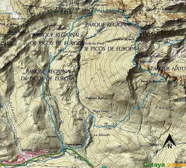 Mapa IGN de la ruta a la Peña del Viento, los Fornos, Rapaina y Rapaona.