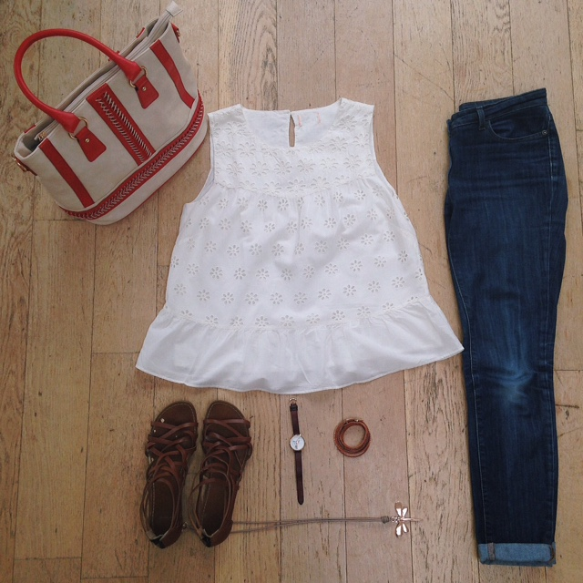 What Lizzy Loves. Cream broderie anglaise top, jeans, tan leather sandals and dragonfly pendant