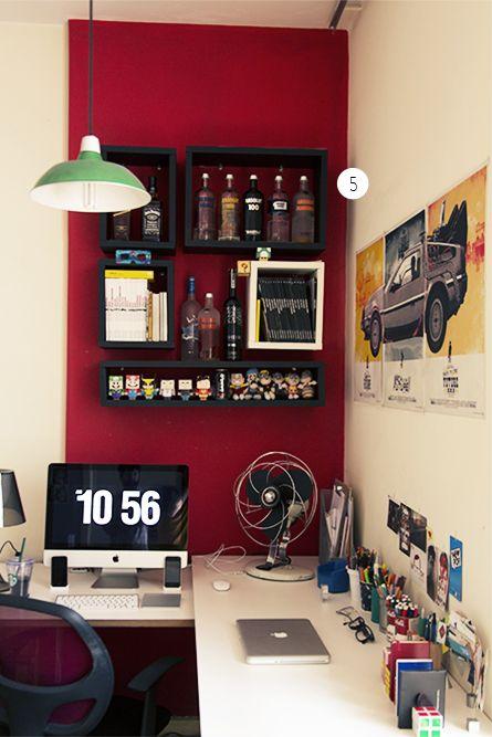 decoração de home office moderno com nichos