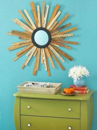 Starburst mirror dari penggaris kayu