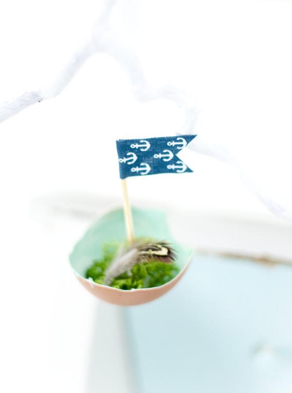 Basteln zu Ostern: DIY Mini Segelboote aus Eierschalen