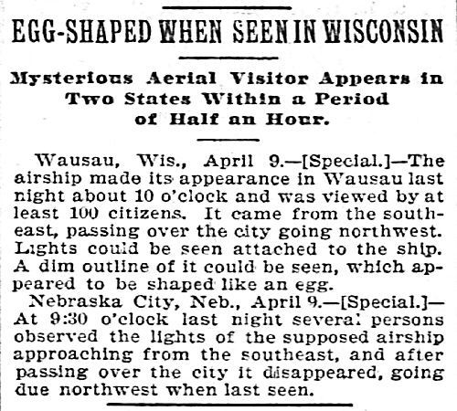 Egg-Shaped When Seen in Wisconsin - Chicago Tribune 4-10-1897