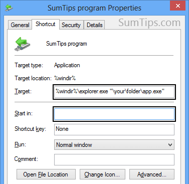 Relative path program shortcut on Windows
