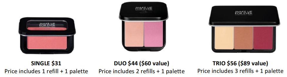 make up for ever artist face color blush highlighter h102 b208 review swatches