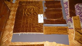 materiał, tapicerka  fotela, wykroje do nowej tapicerki