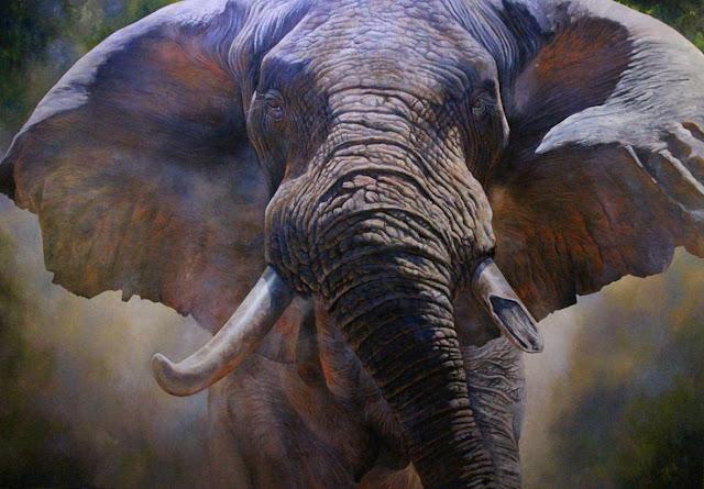 tranh sơn dầu vẽ voi