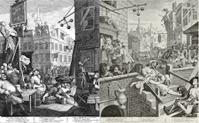 Beer Street and Gin Alley by William Hogarth (1751) via Wikimedia Commons