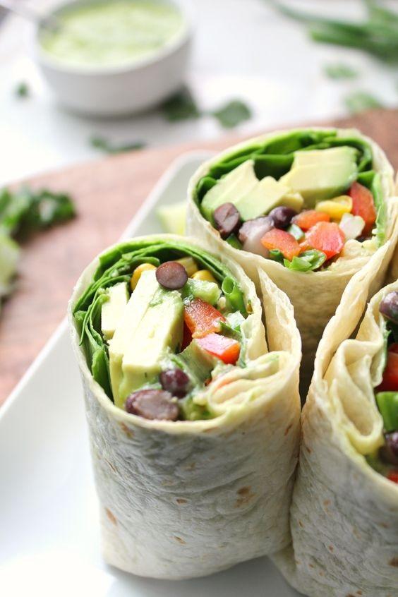 Vegan Mexican Salad Wraps With Creamy Avocado Dressing
