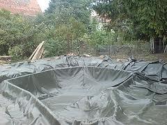 New tarps world making koi fish pond using billboard tarp for Koi pool liners