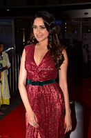 Pragya Jaiswal stunning Smiling Beauty in Deep neck sleeveless Maroon Gown at 64th Jio Filmfare Awards South 2017 ~  Exclusive 011.JPG
