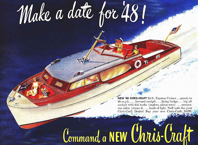 1948 Chris-Craft, a color illustration, Make a date for '48, Command a NEW Chris-Craft, 1940s luxery powerboat