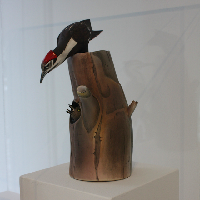 Pileated Woodpecker teapot at Racine Art Museum