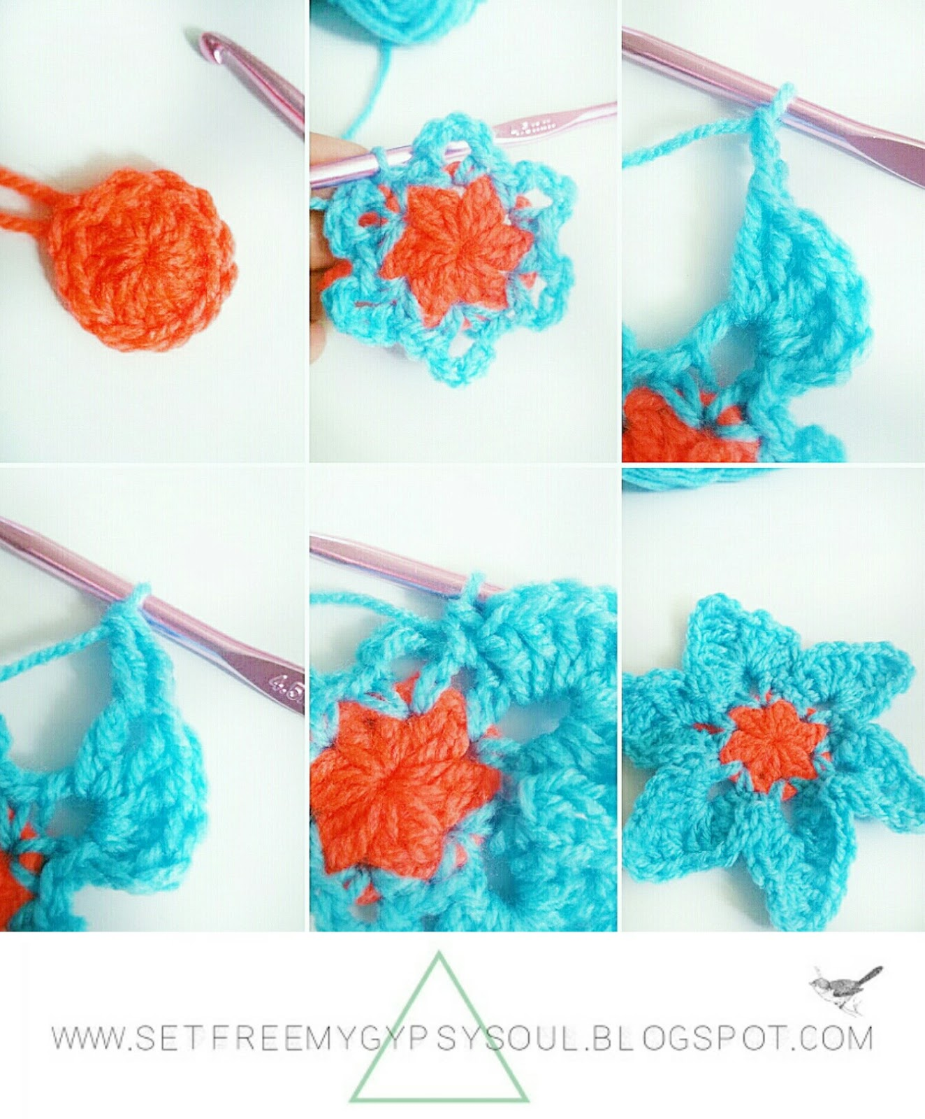 free crochet tropical flower pattern hippie boho bohemian