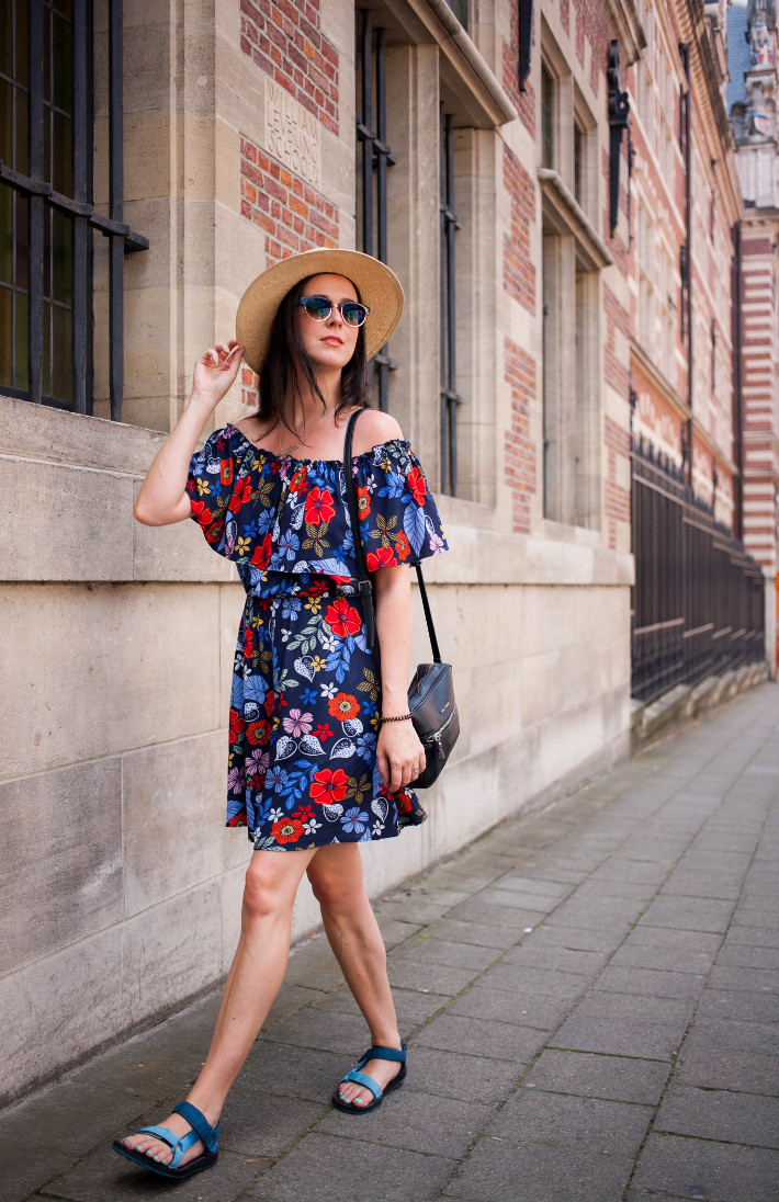 Outfit: panama hat, floral off shoulder dress with Tevas