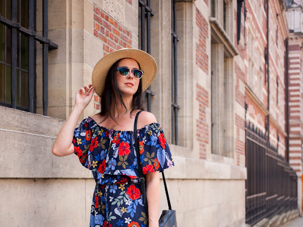 Outfit: floral off shoulder dress with Tevas