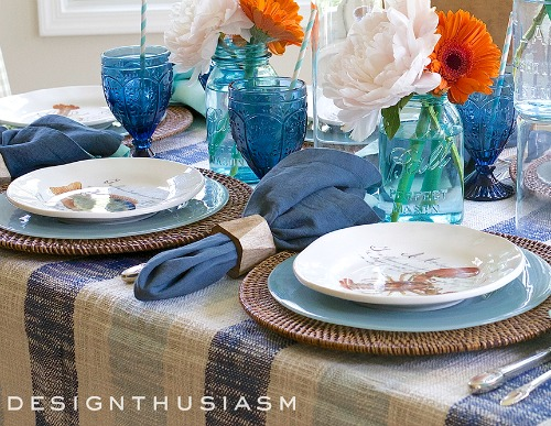 Nautical Table Decor With Blue Dishes U0026 Sea Life Plates | Shop The Look