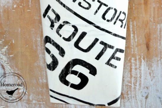 Rusty Route 66 Metal Flower Vase