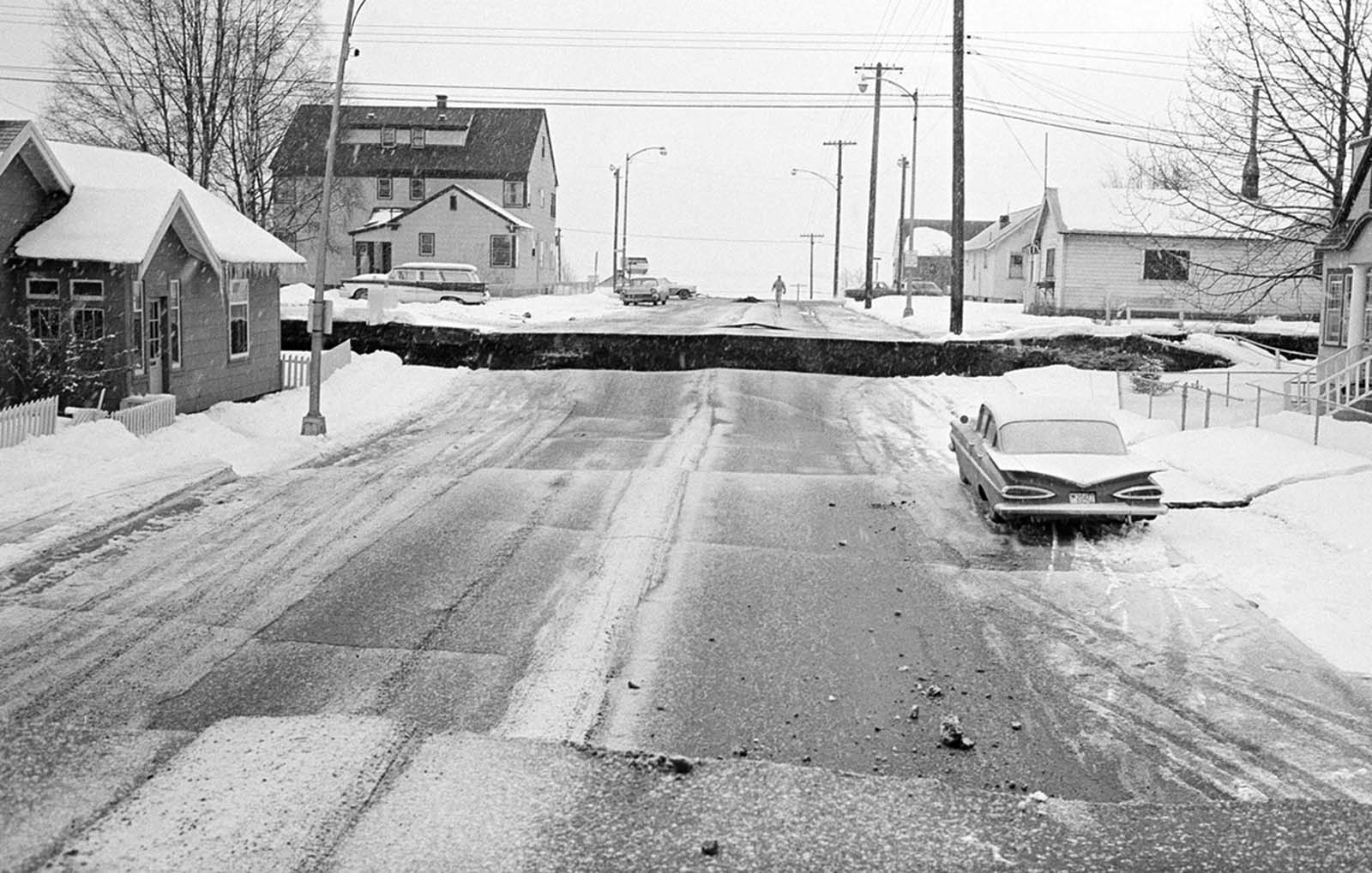 A fractured city block in Anchorage, Alaska, on March 28, 1964.