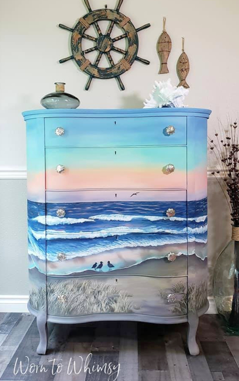 Painted Art Dresser Scenic Painting