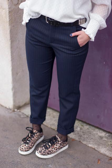 pantalon-pinces-costume-zara-baskets-leopard-pimkie