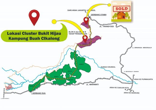 lokasi properti syariah cluster bukit hijau kampung buah cikalong