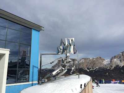 Metal ski sculpture of Alta Badia.